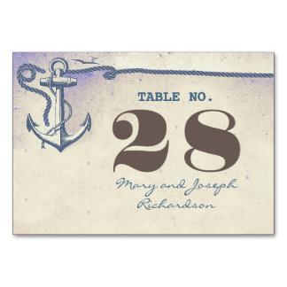 Cartão náutico do número da mesa do casamento da