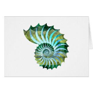 Cartão Nautilus Shell do mosaico do polígono azul & verde
