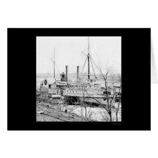 Cartão Navio a vapor New York na aterragem 1865 de Aiken