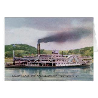 Cartão Navio a vapor o Rio Ohio da rainha da ilha de