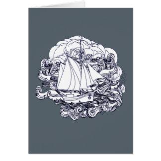 Cartão Navio colado na tempestade