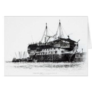 Cartão Navio da prisão no porto de Portsmouth