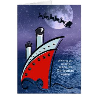 Cartão Navio de cruzeiros - barco no mar + Papai noel que