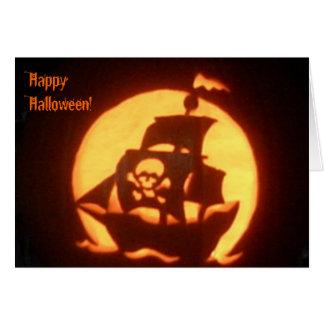 Cartão Navio de pirata assustador