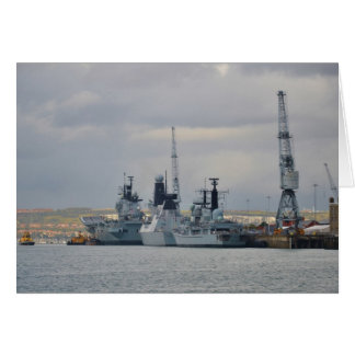 Cartão Navios de guerra em Portsmouth