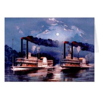 Cartão Navios de pá na raça da meia-noite
