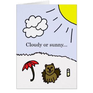 Cartão nebuloso ou ensolarado do dia de Groundhog