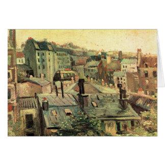 Cartão Negligenciando os telhados de Paris por Van Gogh