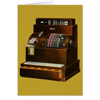 Cartão Negócio de retalho do vintage, caixa registadora
