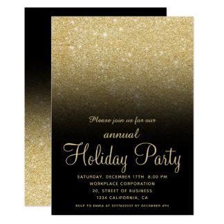 Cartão Negócio do Natal do brilho do ombre do ouro