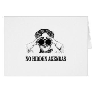 Cartão nenhumas agendas escondidas