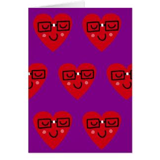 Cartão Nerdy dos namorados do coração