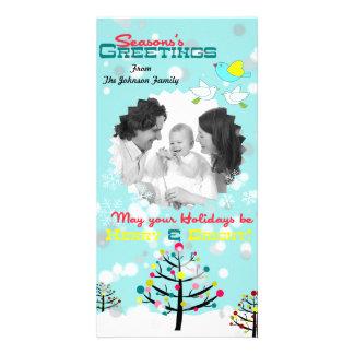 Cartão nevado colorido brilhante do feriado da árv cartão com foto