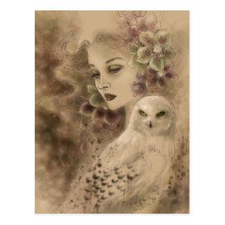 Cartão nevado da arte da fantasia da coruja
