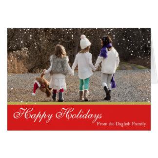 Cartão nevado da família do Natal