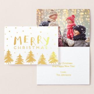 Cartão nevado da folha das árvores | do feriado do