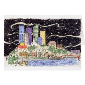 Cartão nevado da skyline