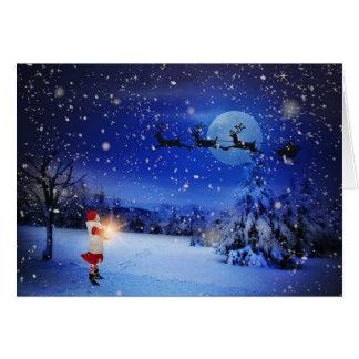 Cartão nevado do Natal da noite do trenó do papai