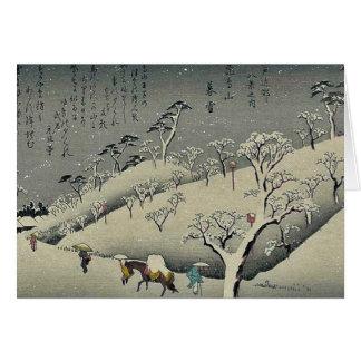Cartão Neve atrasada em Asukayama por Ando, Hiroshige