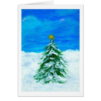 Cartão Neve da arte da paisagem do inverno da árvore de