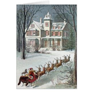 Cartão Neve de William Roger - papai noel e trenó do