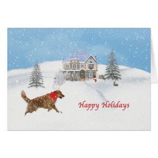 Cartão Neve do cão e do Natal do golden retriever