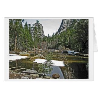 Cartão Neve no lago mirror - Yosemite