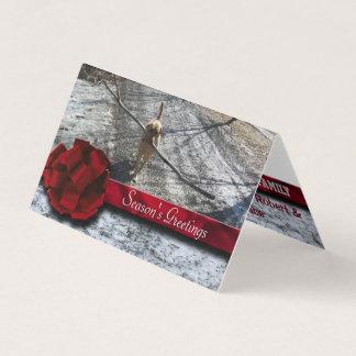 Cartão Neve vermelha da fita da baga