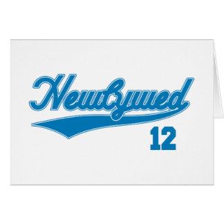Cartão Newlywed 12 (azul do roteiro do basebol)