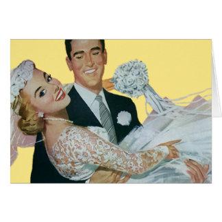 Cartão Newlyweds do casamento vintage, noivos felizes