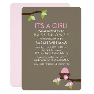 Cartão Ninho do pássaro e chá de fraldas da menina das