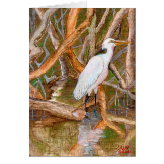Cartão No. 2 do Egret dos manguezais