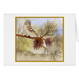 Cartão 'No pinho Siskin dos pinhos