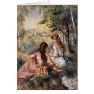 Cartão No prado por Pierre-Auguste Renoir