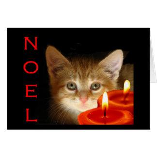 Cartão Noel do gatinho com velas