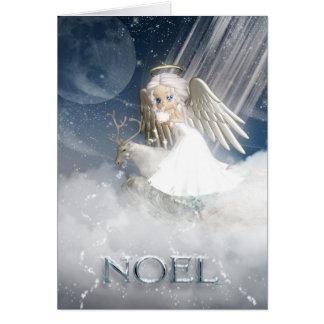 Cartão NOEL, neve de sopro do anjo sobre o mundo