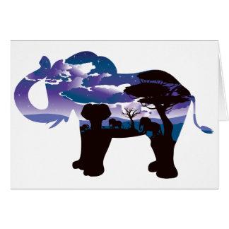 Cartão Noite africana com elefante 5