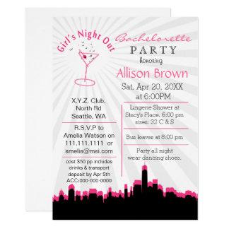 Cartão noite cor-de-rosa das meninas para fora na festa