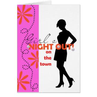 Cartão noite das meninas para fora