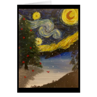 Cartão Noite de Natal estrelado