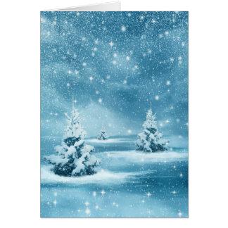Cartão Noite de Natal estrelado azul nevado