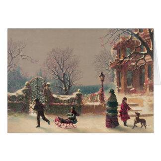 Cartão Noite de Natal no natal vintage do parque