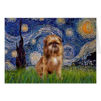 Cartão Noite estrelado - Brown Bruxelas Griffon