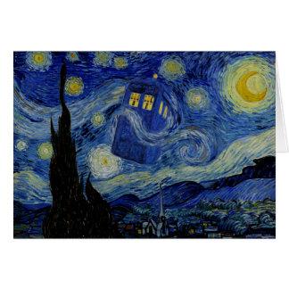Cartão Noite estrelado com a caixa de polícia por