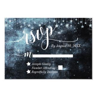 Cartão Noite estrelado RSVP Wedding celestial da aguarela