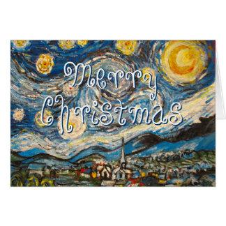 Cartão Noite estrelado Van Gogh do Feliz Natal repintado