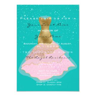 Cartão Noite nupcial do rosa dos confetes do ouro do