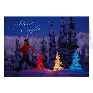 Cartão Noite silenciosa - corredor fêmea perto