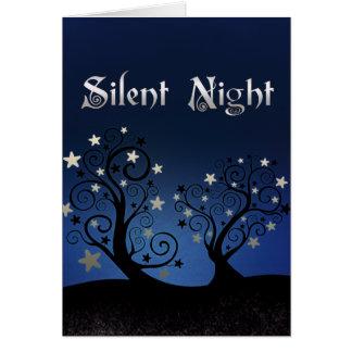 Cartão Noite silenciosa das árvores estrelados