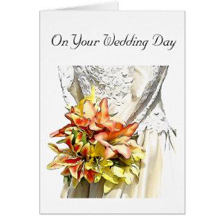 Cartão Noiva com o buquê alaranjado do lírio